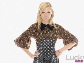 Kirsten Dunst wears Marni for H & M Peter Pan collar dress