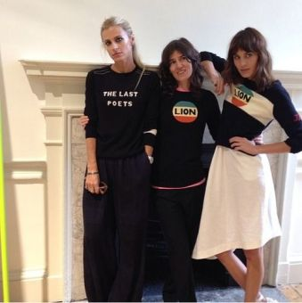 Seriously stylish gang, Laura Bailey, bella Freud and Alexa Chung all wearing Bella Freud Sweaters 2016